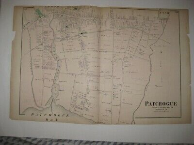Vintage Antique 1873 Patchogue Long Island New York Handcolored Map Rare Fine Nr