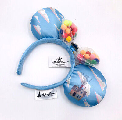 Bow Blue Disney Parks UP Grape Soda Cap Balloons Minnie Ears Rare Headband