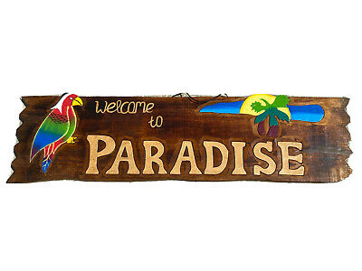 """24/"""" WELCOME TO OUR LITTLE PIECE OF PARADISE PARROT SIGN WALL ART TIKI DECOR"""