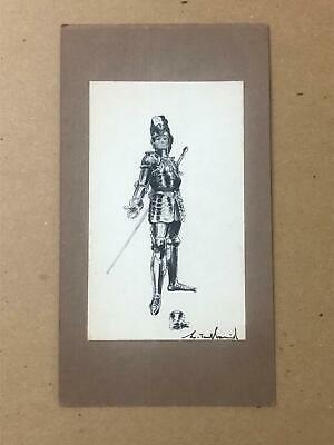 Armour / Costume Design Artwork - Medieval Knight - Signed, Early 20th Century