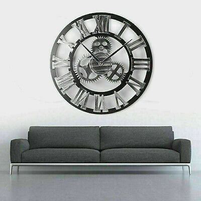 60Cm Extra Large Roman Numerals Skeleton Wall Clock Big Giant Open Face Round Gg