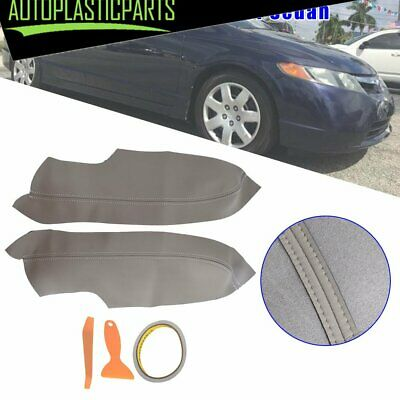 Pair Gray Door Panel Armrest Synthetic Leather Cover for Honda Civic 06-11 Sedan