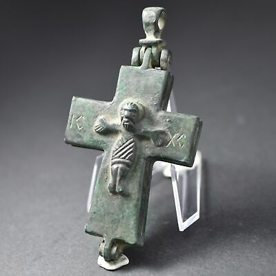 Byzantine Empire Bronze Enkolpion Reliquary Cross Jesus Christ 9Th–13Th C. Ic Xc