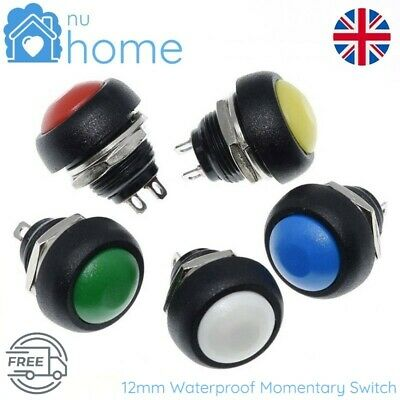 10X Durable 12mm Waterproof Momentary ON//OFF Push Button Mini Round Switch KS