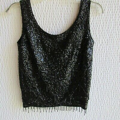 Vintage 1960s Black Wool Beaded and Sequin Shell Top Bodice Hong Kong