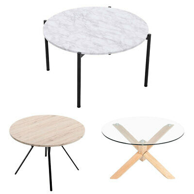 Round Coffee Table Sofa Tables Nested Side Living Room Home Marble Vein Glass Uk 45 95 Picclick Uk