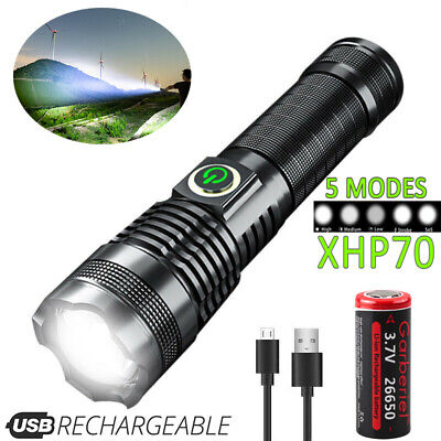 Rechargeable 2000000 lumens XHP70 Most Powerful LED Flashlight USB Zoom Torch UK