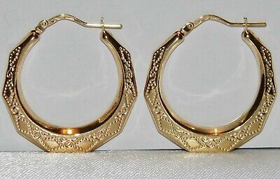 DON/'T MISS THESE,SEE PICS { 94 } LARGE 9ct Gold Patterned Hoop Earrings gf
