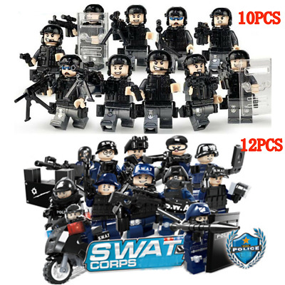 SWAT POLICE ARMY SAS Mini figures Weapon Soldier Fits Lego Toys UK STOCK