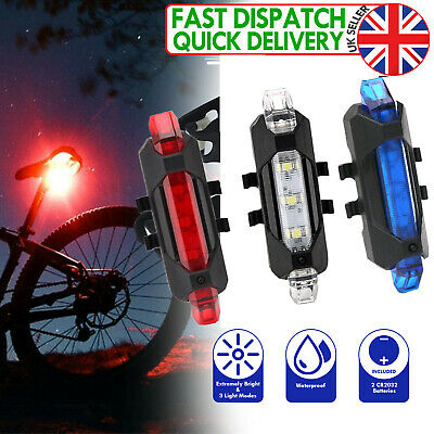 USB Rechargeable Road /& MTB UK White LED Bike Lights for All Bicycles Red
