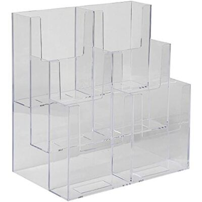 Acrylic Stand 3 Tier, 6 Pocket Fits 4 By 9 Material, Trifold Brochure Holder,