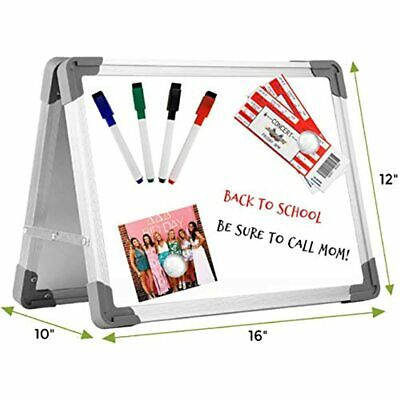 Small Dry Erase White Board Easel By Abaco Office - 16x12 Inch Includes 4 Free