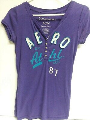 Aeropostale  Ribbed  short Sleeve 7 Button  T shirt Size Medium Junior Women NWT