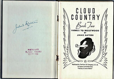 1936 Sgd. Cloud Country Hawaii Hollywood Jimmie Mattern, Pure Oil Co Adv Publ