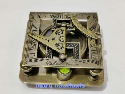 Antique vintage brass compass maritime nautical square sundial compass good gift