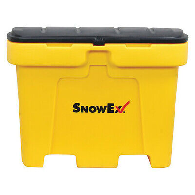 Snowex 74051 18 Cu.Ft. Yellow Resin Attached Lid Salt Box Container