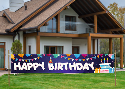 Pack of 3 ZERIRA Large Happy Birthday Banner Backdrop Happy Birthday Theme Party Welcome Yard Porch Sign Indoor Outdoor Birthday Party Decorations
