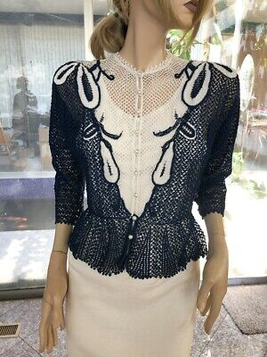 Lim/'s Vintage All Hand Made Cotton Crochet Top Pearl Buttons RedWhite One Size M to L