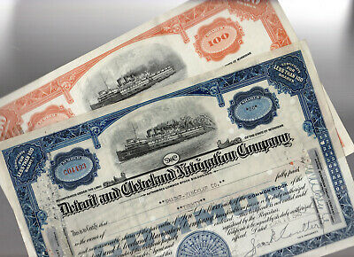 Detroit & Cleveland Navigation Company Stock Bond Lot of 2 - Used, Fully Paid