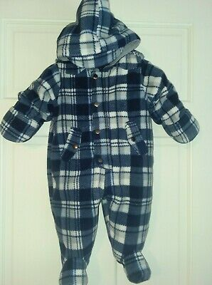 First Impressions Baby Boy/'s Footed and Gloved Snowsuit Pale Blue Bear 3-6 Mos.