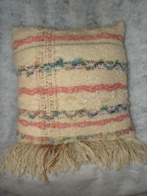 Handcrafted Wool Pillow With Fringe  Woven Wool