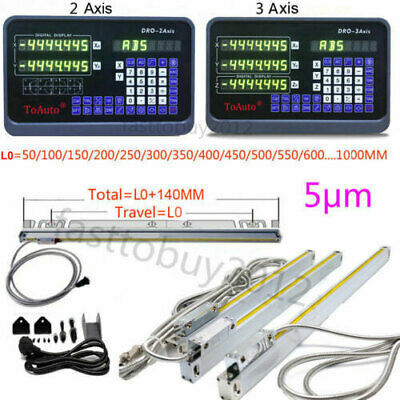 2/3 Axis Digital Readout DRO TTL Linear Glass Scale Encoder for Milling Lathe US