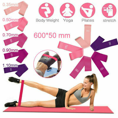 Gym Resistance Bands Set 5 Pink Loop Exercise Keep Fit Physio Fitness Health UK