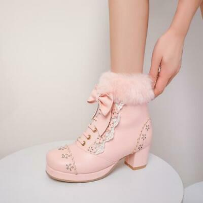 Details about  /Sweet Womens Lolita Bowknot Winter Fur Trim Carved Ankle Boots Block Heel Shoes