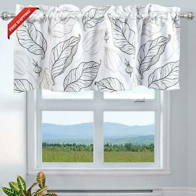 Inicekey Leaves Printed Window Curtains Valance For Kitchen, Top Rod Pocket 52X1