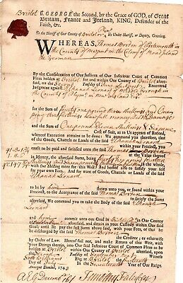 1743, Portsmouth, R.I., writ of collection, against Crazy man Leonard, signed