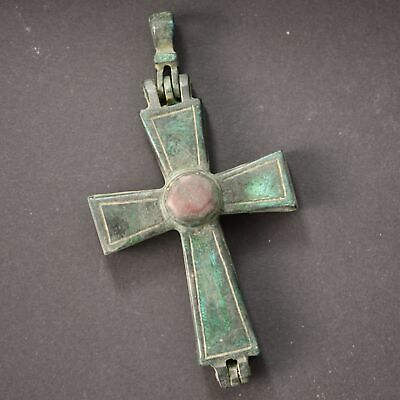 Byzantine Bronze Pectoral Enkolpion Reliquary Cross Jesus Christ 9Th–13Th C.