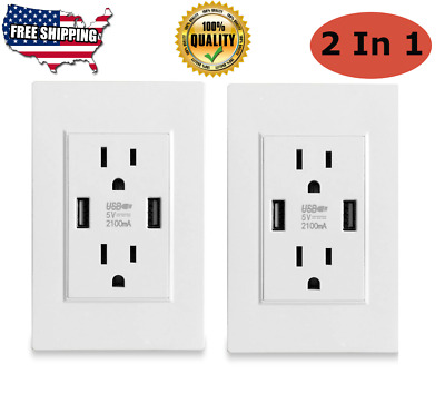 PWRFL 2-Outlet Wall Tap 2 USB Port 2.1A Charger Outlet Expander with Charge LED
