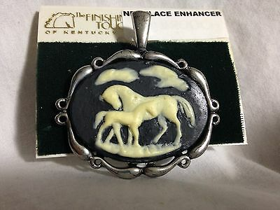 Finishing Touch Of Kentucky-Horse Mare Foal Black Cameo Pendent Silver Tone