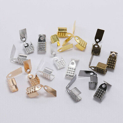 HANDYCRF100pcs 4 5 6mm Metal Rope Fastener Crimp Fold Over Cord End Cap Leather Clip Connector for DIY Jewelry Making Findings Supplies Color: Gold; Size: 4mm
