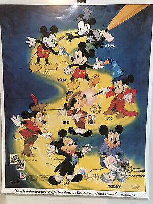 Details about  /Vintage Mickey's Around The House Poster Vintage NOS 28X22 WD-38 Walt Disney