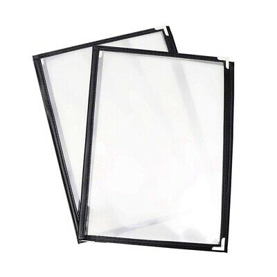 2Pcs Transparent Restaurant Menu Covers for A4 Size Book Style Cafe Bar 3 P Z1G1