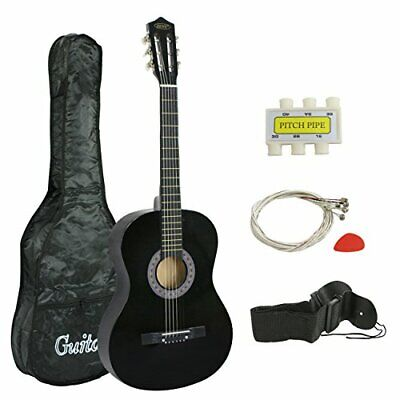 """New 38"""" New Beginners Acoustic Guitar With Guitar Case, Strap Tuner Pick (Black)"""