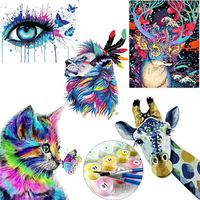 Colorful Animal DIY Paint By Number Kit Digital Oil Painting Home Art Wall Decor