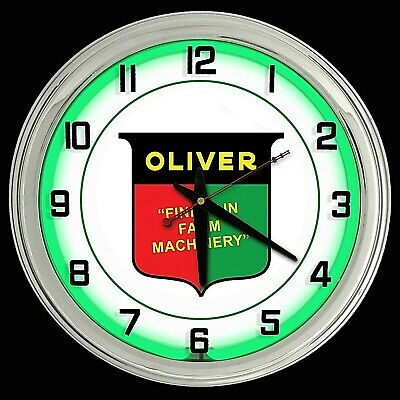 """16"""" Oliver Tractor Farm Machinery Sign Green Neon Wall Clock Garage Man Cave"""