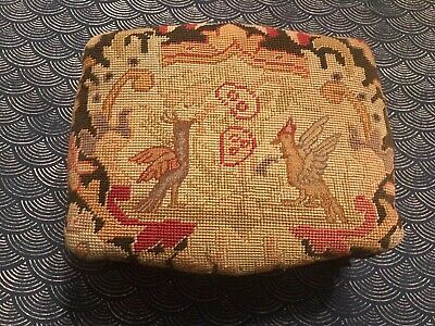 Antique French Louis XV Bird & Pomegranate Needlepoint Carved Footstool Ottoman