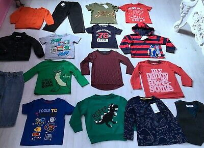 BOYS CLOTHES BUNDLE AGE 2-3 YEARS 17 ITEMS jumper joggers t-shirt jeans jacket