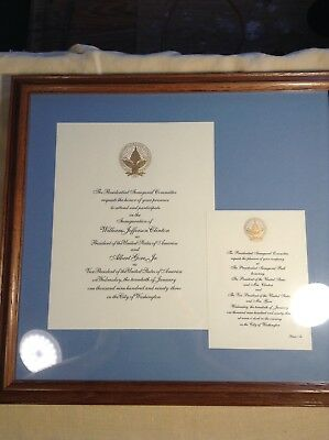 Bill Clinton Official Authentic Presidential Inauguration Invitation Framed 1992
