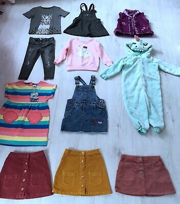 GIRLS CLOTHES BUNDLE AGE 3-4 YEARS 11 ITEMS jacket skirt pyjamas sweatshirt top