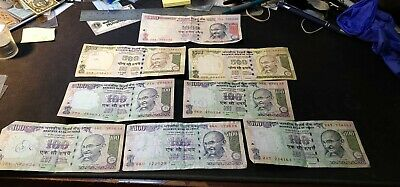 Lot of 8 Reserve Bank of India Bank Notes 1000, 500 & 100 Rupees Circulated