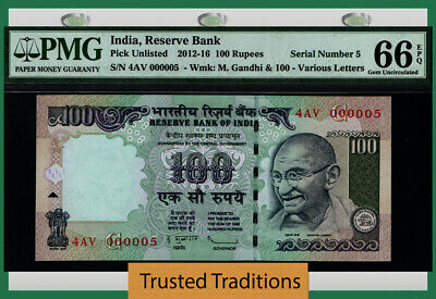 Tt 2012-16 India 100 Rupees Gandhi 4Av Block S/N 000005 Pmg 66 Epq Gem 3 Of 8!