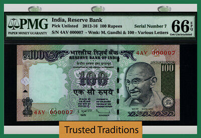 Tt 2012-16 India 100 Rupees Gandhi 4Av Block S/N 000007 Pmg 66 Epq Gem 5 Of 8!