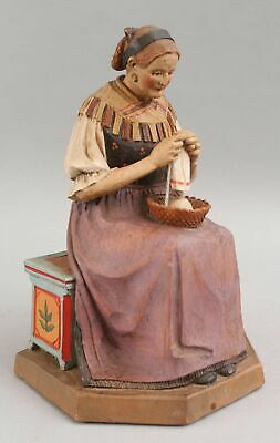 Large Antique Wood Carving Tyrolean Woman Yarn Knitting Italy ANRI Sculpture NR