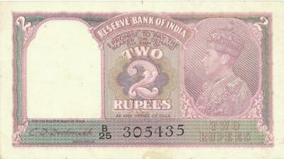 British India 2 Rupees Currency Banknote 1937 XF/AU