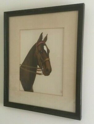1950s Vintage Equestrian art by artist F.B. Original Oil hand painting on satin.
