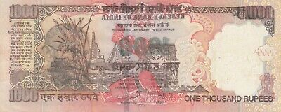 India, 1000 Rupees, Error Note Misprint on Back Side, XF+